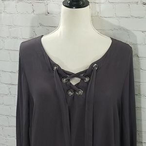 Torrid Grey Lace Up Long Sleeve Blouse